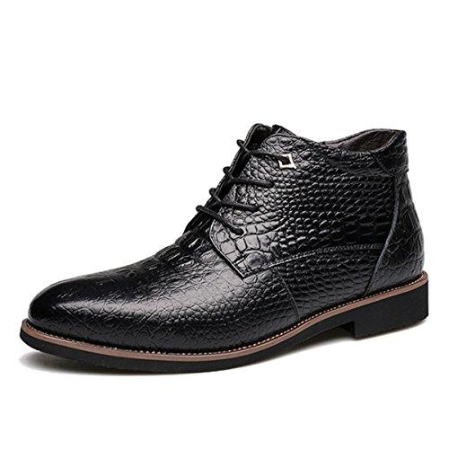 gracosy Herren Stiefel, Winter Boots Schnürhalbschuhe Derby Mokassins Oxford Lederschuhe Casual Schuhe Freizeitschuh mit Inner Flaum (Hersteller-Größentabelle im Bild Beachten) Schwarz 45