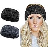 Diadema de invierno para mujer, de punto cálido, con nudo trenzado, calentador de orejas grueso, cable turbante para mujer