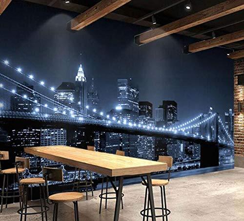 3D vliesbehang fotobehang abstract zwart & wit New York stad nacht landschap licht brug behangfoto's voor restaurant achtergrond 3D behang sticker 200 * 140 cm
