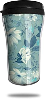 FTRGRAFE Vintage Floral Wallpaper HD Travel Coffee Mug 3D Printed Portable Vacuum Cup,Insulated Tea Cup Water Bottle Tumblers for Drinking with Lid 8.54 Oz (250 Ml)