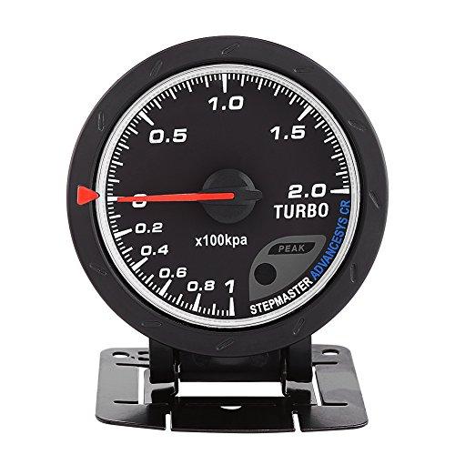 Qiilu Universal 60mm LED Turbo Boost manométrica Medidor para automóvil de Carreras 0-200 Kpa con Soporte y Accesorios de instalación Negro