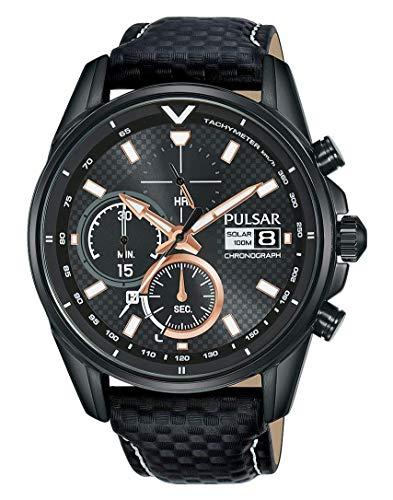 Pulsar Rally Herren-Uhr Solar Chronograph Edelstahl mit Lederband PZ6033X1