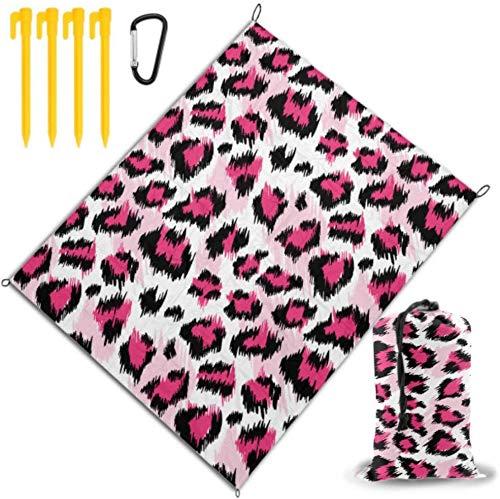 BONRI Mantas de Playa para Mujer Mantas de Playa estilizadas de Leopardo Rosa de Moda para niñas Impermeables y de Secado rápido para Viajes, campamentos, Caminatas, Festivales de música