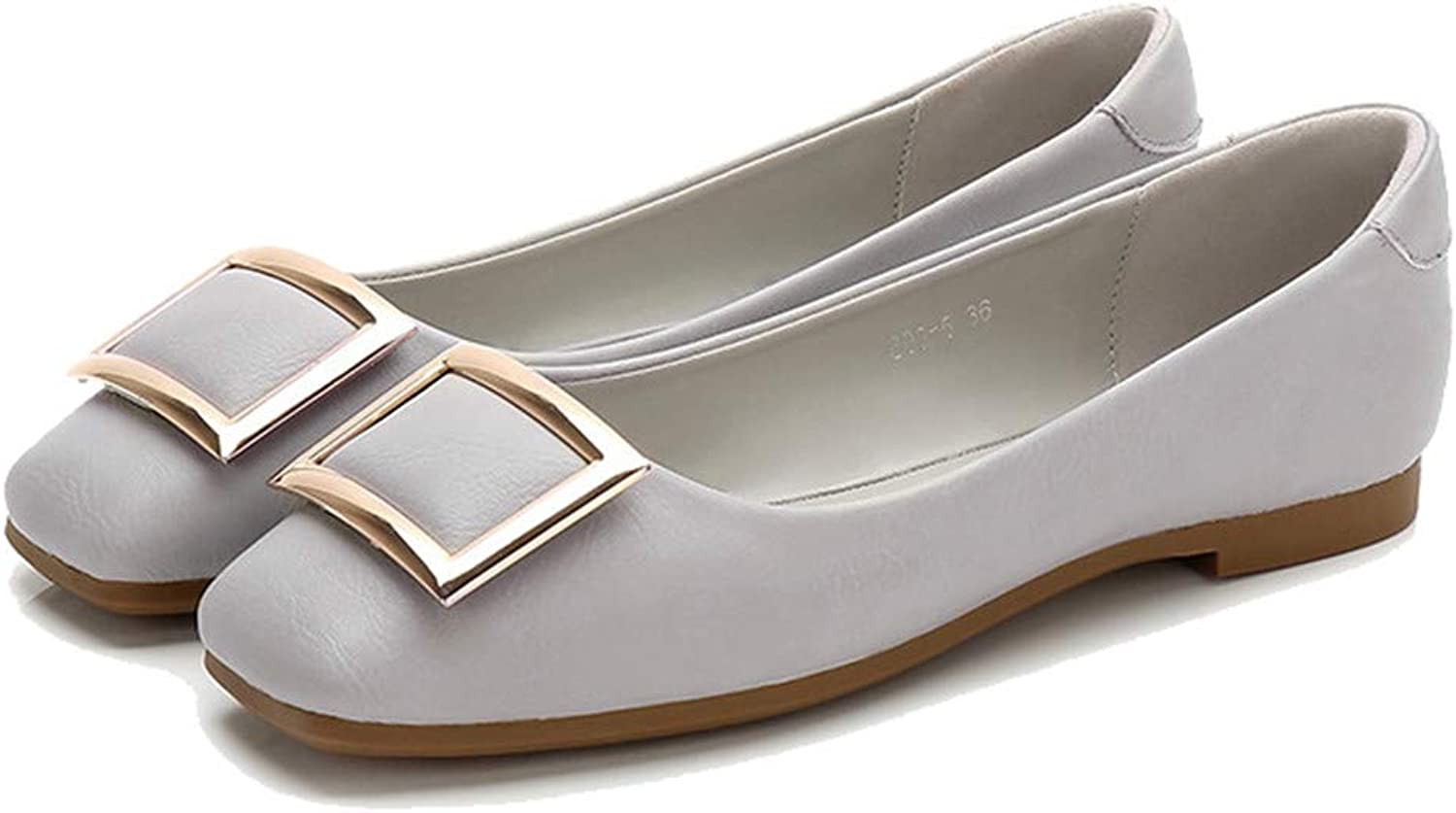 Kyle Walsh Pa Women's Flats Square Toe Metal Buckle Female Casual Soft Moccasins shoes