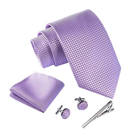 Massi Morino ® Set de corbata (caja regalo para hombres) Corbatas de hombre y pañuelos + gemelos + clip de corbata (Púrpura)