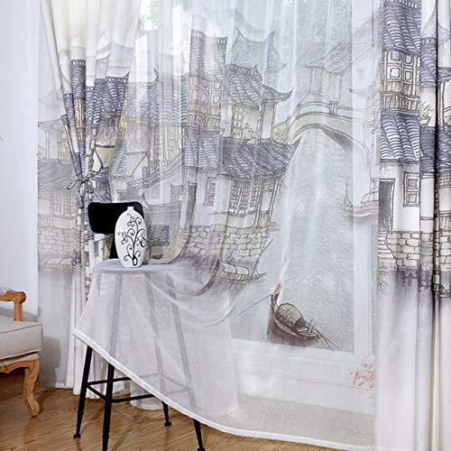 WBXZAL-Rideaux Le Salon De La Peinture De Paysage De Style Chinois, L'Étude, L'Atterrissage Rideau De Tissu, Produit Fini, Fenêtre Écran Rideau,240,B