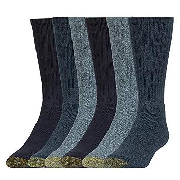Gold Toe Men s Harrington Crew Socks Multipairs Denim  6-Pairs  Large