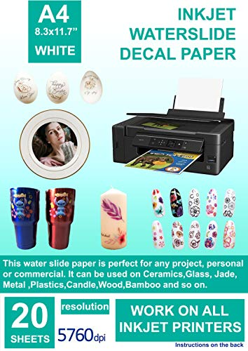 Cubic Coating 20 Blatt Tintenstrahl Wasserschiebefolie Weiß DIN A4 (210 x 297mm) Weiß Printable Decal Papier Wasser Transfer Folie