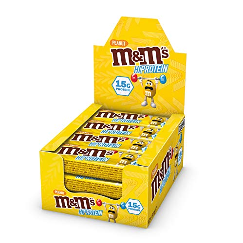 M&M's Hi Protein Peanut Bar (12 x 51g) - High Protein Snack with M&M's, Peanuts, Caramel and Milk Chocolate - Contains 15g Protein