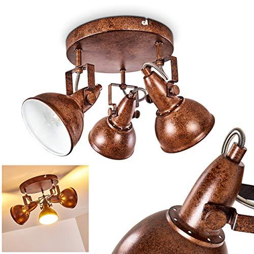 Plafondlamp Tina, ronde metalen plafondlamp in roestbruin/wit, 3 vlammen, met verstelbare schijnwerpers, 3 x E14 fitting max. 40 Watt, spot in retro/vintage uitvoering, geschikt voor LED-lampen