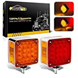 Partsam 2pcs Square Dual Double Face Fender Stop Turn Signal Tail 52 LED Amber/Red Truck Trailer Stud Pedestal Lights Waterproof Replacement for Volvo/Kenworth/Peterbilt/Freightliner/Western Star