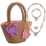 Kids Butterfly Handbag Toddler Butterfly Jewelry Set Little Girls Toddlers Handbag with Butterfly Girls Rattan Handbag