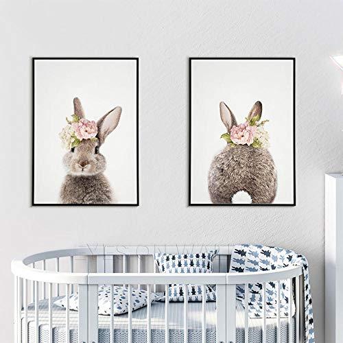 Conejo Pared Deco conejos Sala De Niños Deco Impresiones de pared Vivero de conejo
