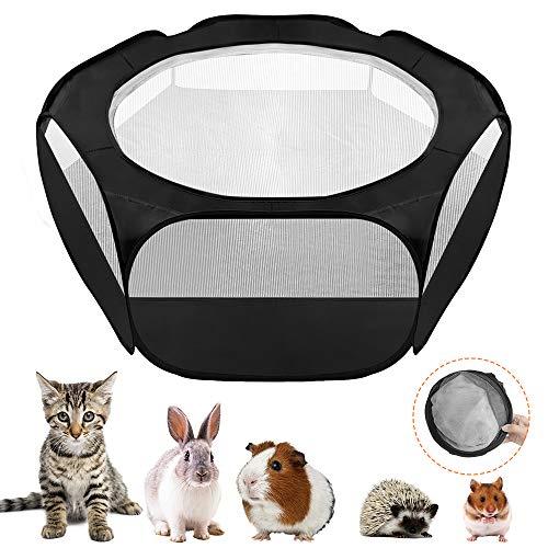 SlowTon ペットサークル、折りたたみ 犬 猫 用 フェンス 側生地付き、軽量 透明性 小動物飼育ケージ ウサギ ハムスター ハリネズミ用(黒)