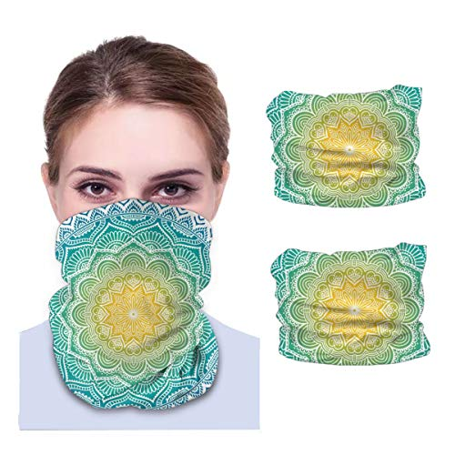 SLHFPX Mandala Indian Culture Pattern Neck Gaiter Face Mask Set of 2 Bandana Anti-Dust Marks Windproof Neck Warmer for Outdoor Sports