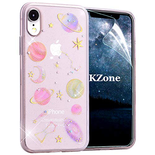 OKZone iPhone XR Hülle, Glitzer Bling Glänzende Designer Weich TPU Bumper Case Silikon Schutzhülle Handy Tasche Rückseite Hülle Etui Cover TPU Bumper Schale für Apple iPhone XR 6.1 Zoll (Klar)