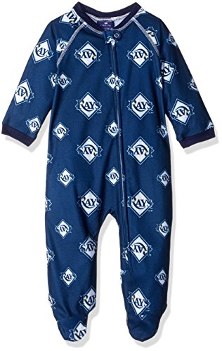 MLB Infant Rays Sleepwear All Over Print Zip Up Coverall, 12 Months, Athletic Navy
