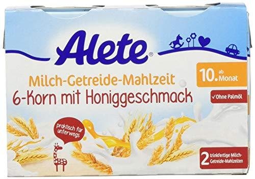 Alete Milch-Getreide-Mahlzeit 6-Korn mit Honiggeschmack, praktisch für zuhause & unterwegs, mit viel Calcium, Vitamin C & Zink, ohne Palmöl, ab dem 10. Monat, 400 ml