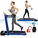 2 in 1 Folding Treadmill 2.25HP Under Desk Electric Treadmill with Remote Control & App,LED Display Walking Jogging Running Machine Exercise Fitness for Home/Office Installation Free (Royal Blue)