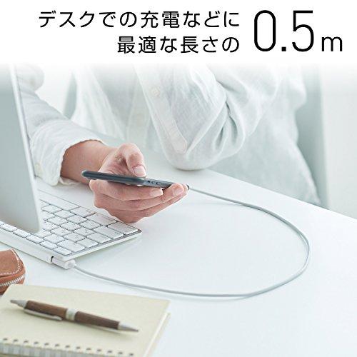 ロジテックライトニングケーブルiphone充電ケーブルapple認証[スリムコネクター採用し、ケースを選ばない]iPhone&iPadiPod対応0.5mホワイトLHC-UAL05WH