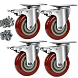 Copsrew 3' PVC Heavy Duty 1000lbs Swivel Rubber Caster Wheels with Safety Dual Locking Casters Set of 4 with Brake