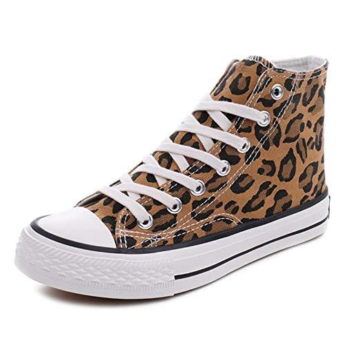 CHICMARK Damen High/Low Top Sneaker Fashion Leopard Espadrilles (Gelb High Top, 39 EU)