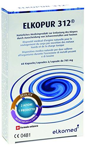 Elkopur312 - Zeolite pura attivata - 60 capsule - 30 giorni di trattamento detox, Dispositivo medico...