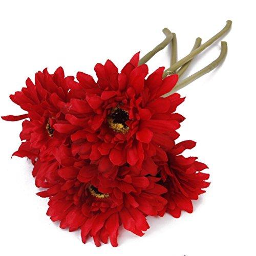 Pixnor Gerbera Artificielle Fleur de Marguerite Pour Décoration - 5pcs (Rouge)