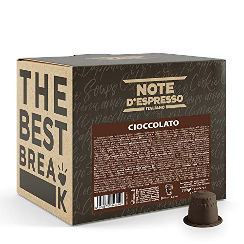 Note d'Espresso Italiano - Cápsulas Sistema Nespresso, compatibles con cafeteras Nespresso, de Chocolate, 100 x 7 g, Total 700 g