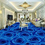 Calcomanías Murales Removibles De Vinilo Personalizado Creativo Flor Azul Sala De Estar Pintura De Piso 3D Autoadhesiva Sala De Estar Verde Centros Comerciales Piso Decorativo Sticke-250 * 175Cm Par