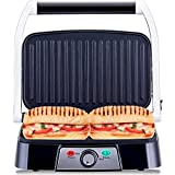 NETTA Panini Maker & Health Grill, Sandwich Toaster Toasties 2 Slice with Non-Stick Plates - 1500W - Stainless Steel Sandwhich Press
