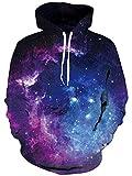 uideazone Men Women 3D Printed Space Galaxy Nebula Hoodie Casual Grachic Sweatshirt Purple