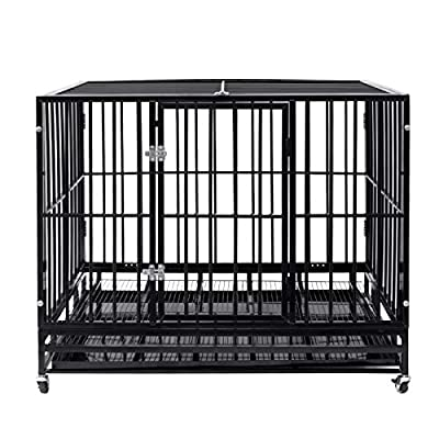 Heavy Duty Pet Dog Cage Strong Metal Crate Kennel Playpen w/Lockable Wheels&Tray (47, Black