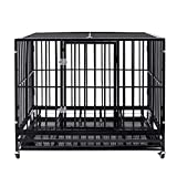 Heavy Duty Pet Dog Cage Strong Metal Crate Kennel Playpen w/Lockable 4 Wheels&Tray (42, Black)