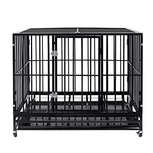 Pet Dog Cage Heavy Duty Strong Metal Crate Kennel Playpen w/Lockable 4 Wheels&Tray (42, Black)