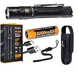 Fenix PD36R Taktische Taschenlampe, 1600 Lumen, Typ C, USB wiederaufladbar, EDC mit Fenix Akku und LumenTac-Batterie-Organizer
