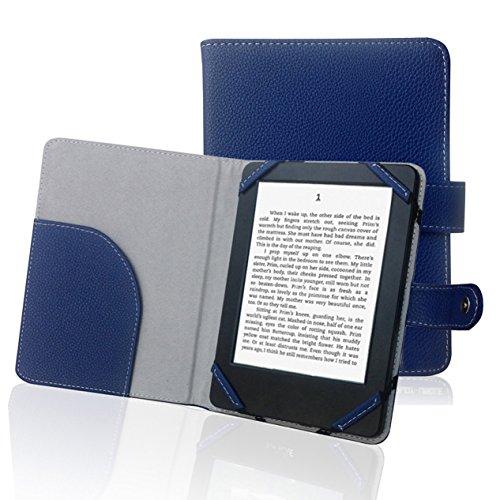 ENJOY-UNIQUE Litch Schutzhülle für 15,2 cm (6 Zoll) eBook-Reader, PU-Leder, Blau