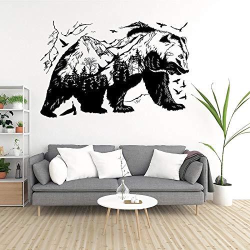 WERWN Pegatinas de Pared de Oso Negro decoración del hogar Creativa Arte de Fondo Mural Pegatinas de Sala de Estar