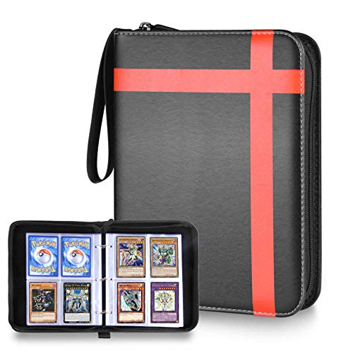 kitguard Trading Card Binder with Sleeves, 440 Double Sided Pocket Trading Card Saver with Zipper, Trading Album Display Holder for Yugioh, MTG, Pokemen and Other TCG Cards(Black Orange)