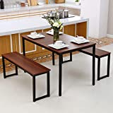 Computer Desk or Kitchen Table Set, Ding Table with Two Benches 3 Piece Set, Modern Soho Industrial...