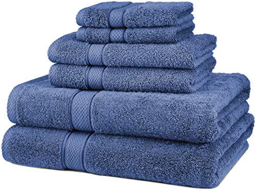 Pinzon Juego de 6 toallas de algodón egipcio de 725 g, color azul