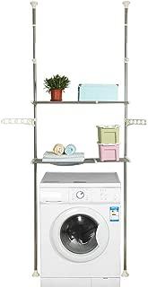 Hershii 2-Layer Over The Toilet Storage Standing Shelf Units Bathroom Space Saver Adjustable Laundry Shelf Clothing Rack Hanger Organization Double Tension Pole