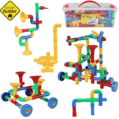 Smart Builder Toys 136 Piece Tube Locks Construction Building Set with...