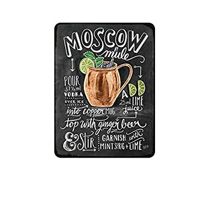 Kama Moscow Mule Cocktail Metal Sign Plaque Metal Vintage Pub Tin Sign Wall Decor for Bar Pub Club Man Cave Retro Metal Posters Iron Painting