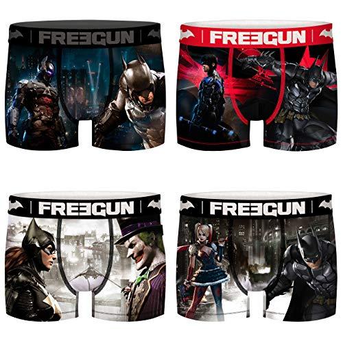 FREEGUN DC Herren Boxershorts Future Batman Joker Harley Quinn Superhelden Druck 4er Pack S M L XL XXL, Größe:M, Farbe:Motivmix