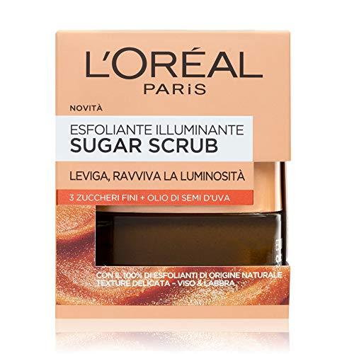 L'Oréal Paris Detergenza Sugar Scrub Esfoliante Illuminante Viso & Labbra Con Cristalli Fini Di Zucchero + Olio Di Semi D'Uva, 50 Ml Color Multicolore 267 G