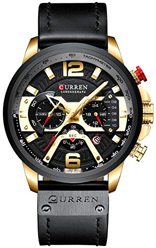 Mens Luxury Watches Business Chronograph Dress Waterproof Leather Strap Analog Quartz Wrist Watch (Gold Black)