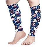 Bikofhd Kompressions-Ärmel für Herren, Damen, amerikanische Patriotische Sterne, Wadenbandage, Schmerzlinderung beim Laufen