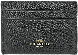 Coach Crossgrain Leather Flat Card Case Black F57312, Small