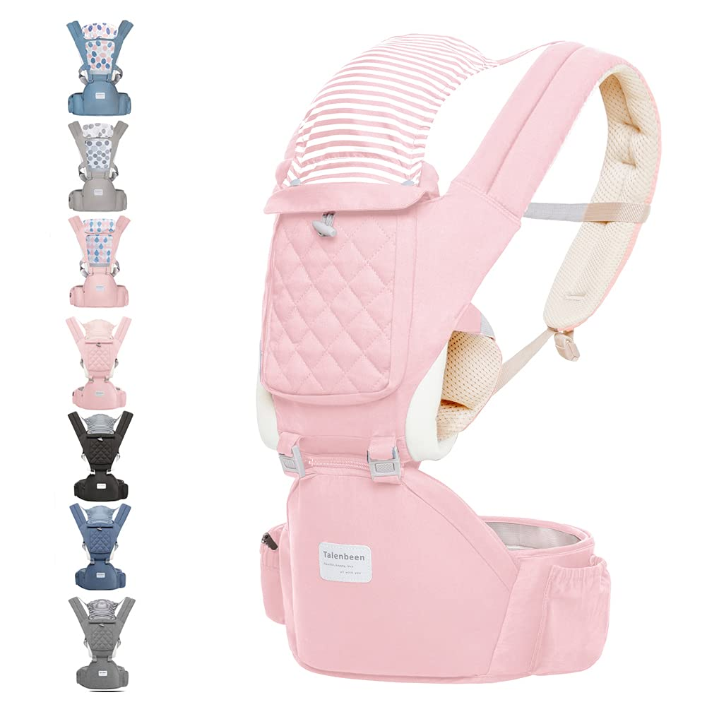 Baby Carrier with Hip Seat Baby Wrap Carrier All Season Multifunctional Baby Carrier Newborn to Toddler Baby Doll Carrier Front and Back for Men and Girls (Pink)
